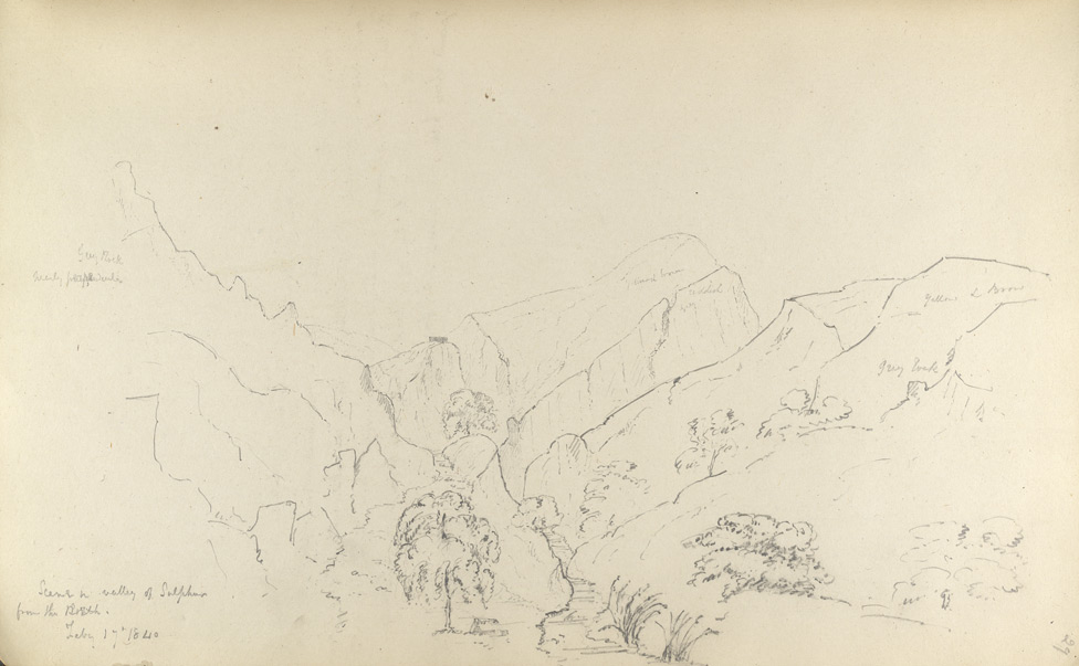 f.29'   Scene in valley of Sulphur from the South.  Feby 17th, 1840' (Near Lakhi Pass, Sind).  Description on f. 28v.
